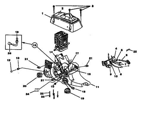 homelite chainsaw parts diagram engine housing fuel tank tank diagram parts list