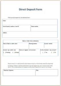 templates for forms free direct deposit form template word