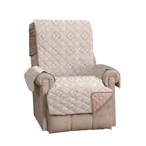 printed recliner great bay home adalyn collection taupe printed reversible