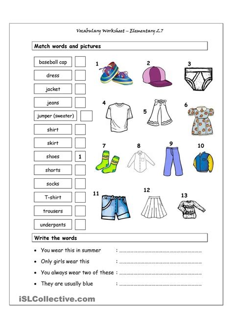 vocabulary matching worksheet elementary 2 7 clothes