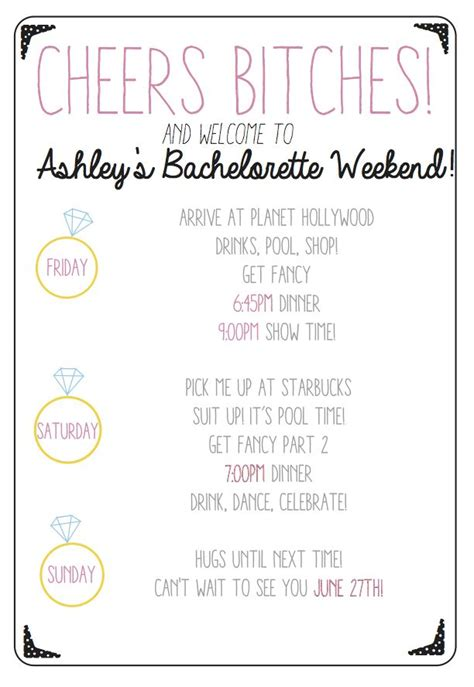 Cheers Bitches Use This Custom Printable Bachelorette Party Agenda To Keep Your Bridesmaids On Bachelorette Itinerary Template Free