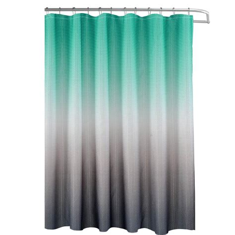 Grey And Turquoise Curtains Creative Home Ideas Ombre Waffle Weave 70 In X 72 In Turquoise Grey Shower Curtain With Beaded