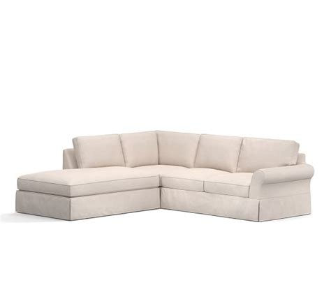 pb comfort sectional pb comfort roll arm slipcovered 3 piece bumper sectional