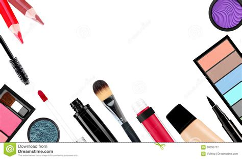Make Cosmetic makeup brush and cosmetics on a white background isolated