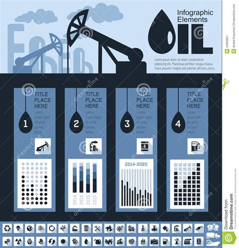 oil industry infographic template stock image image