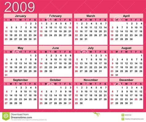 Calendar For 2009 Pink Calendar For 2009 Stock Photography Image 6333102