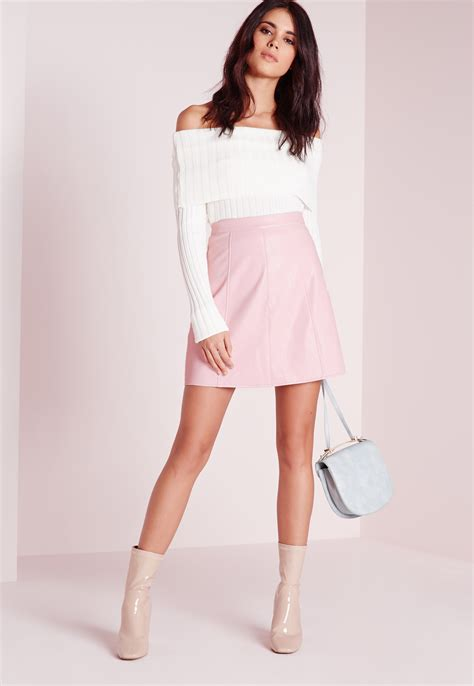 missguided faux leather a line mini skirt dusky