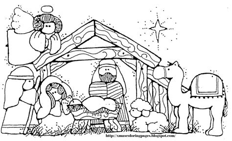 simple nativity coloring page christmas manger simple drawings search results