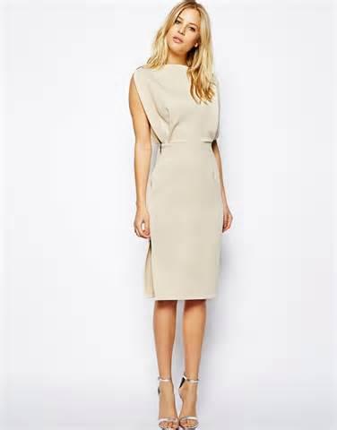 asos premium open top midi dress in beige lyst