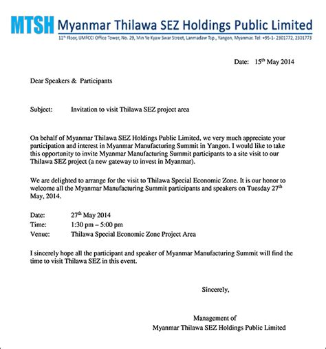 Invitation Letter For Myanmar Visa Event Post Myanmar Manufacturing Summit Yangon
