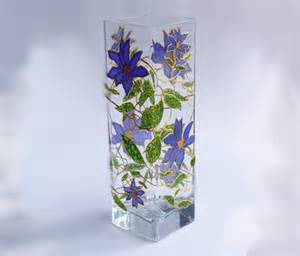 painted glass vase 陝lematis flowers painted