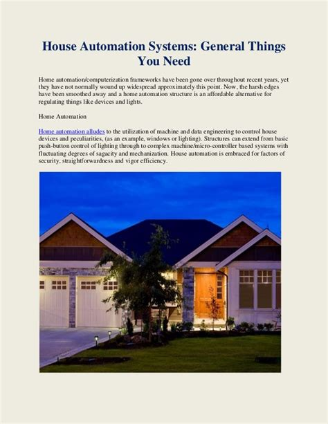 things you need for house house automation systems general things you need