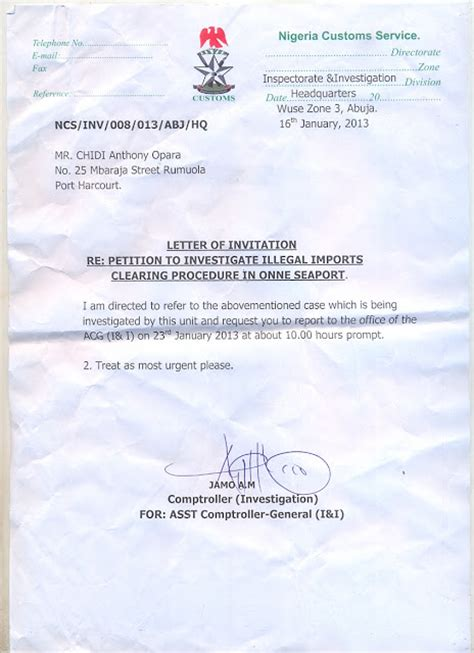 Invitation Letter Nigeria Chidi Opara Reports Special Report The Petition Nigeria Customs Is Yet To Investigate