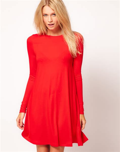 red swing dresses asos collection swing dress with long sleeves in red lyst