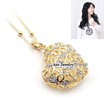 Kalung Korea Choker Pendant Decorated Hollw Out Weaving glam gold color hollow out shape alloy beaded necklaces asujewelry