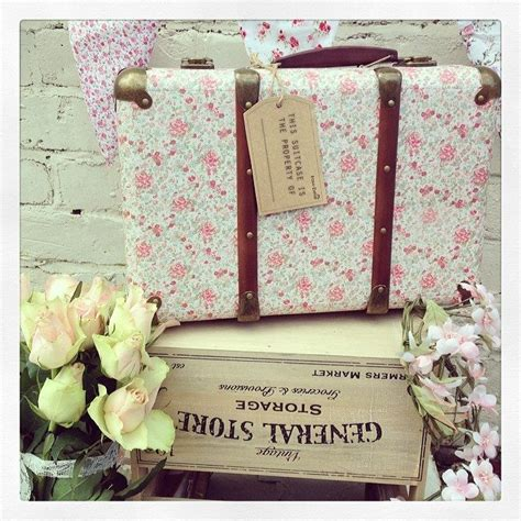 vintage floral shabby chic suitcase pink rose