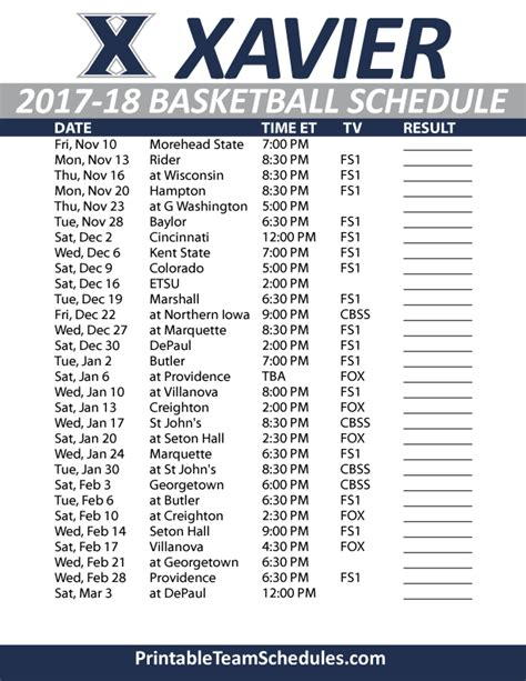 Printable Xavier Basketball Schedule | printable xavier basketball schedule 2017 18