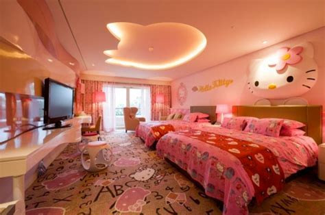 big pink bedroom hello kitty girls room designs