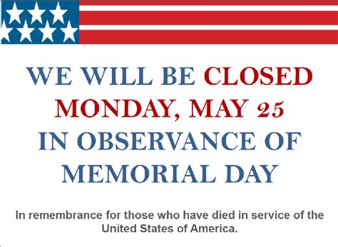 Closed For Memorial Day Printable Sign 2017