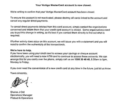 Credit Confirmation Letter How To Cancel A Credit Card Finder Au