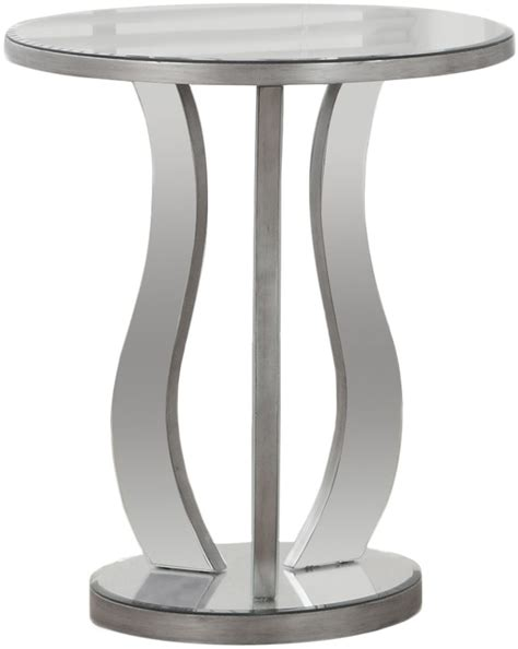 brushed silver table brushed silver mirror 20 quot end table 3726 monarch