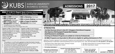 Kau Mba Admission 2017 by Of Karachi Mba Admission 2017 Entry Test Result