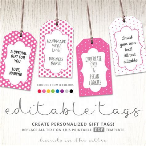 printable hang tags editable gift tags gift tag template text editable polka