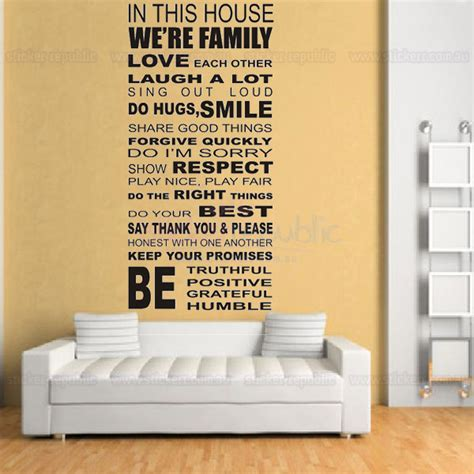 house rules art words graphics pvc wall sticker wallpaper house rules words and quotes wall decal