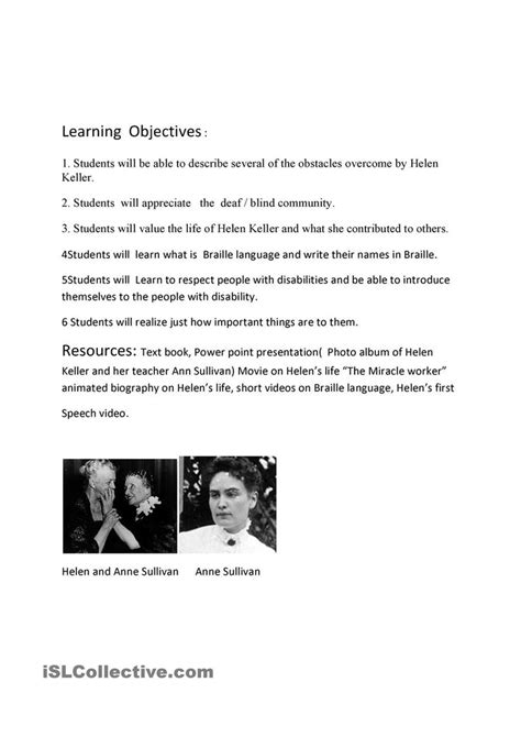 helen keller biography activities helen keller lesson plan esl units pinterest