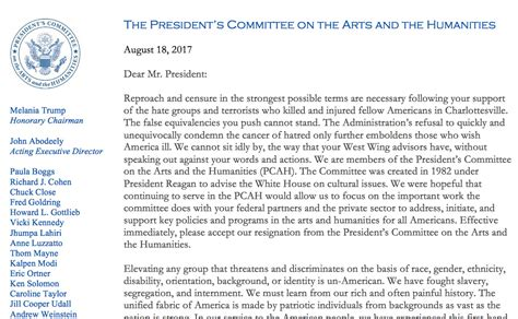 Resignation Letter President S Committee Arts And Humanities President S Committee On The Arts And Humanities Resigns