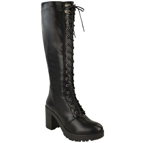 ladies lace up biker boots ladies womens chunky block heel cleated sole lace up punk