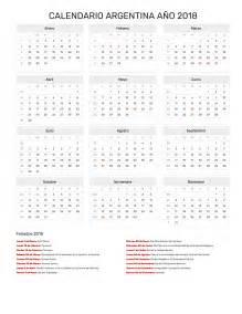 Calendario Nacional 2018 Calendario Argentina A 241 O 2018 Feriados