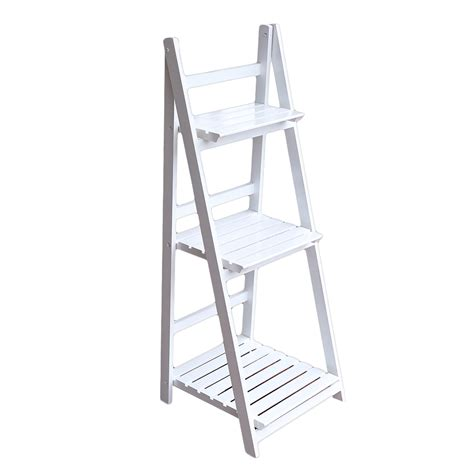 collapsible ladder rack 3 tier white ladder shelf plant flower pot wine book photo