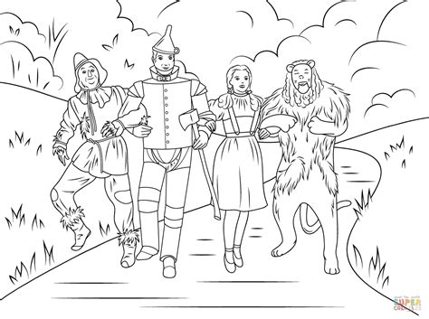printable coloring pages wizard of oz scarecrow tin dorothy and cowardly coloring