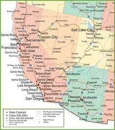 california nevada map with cities map of arizona california nevada and utah