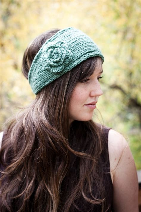 knitted headband pattern flower headband earwarmer knit and crochet pattern