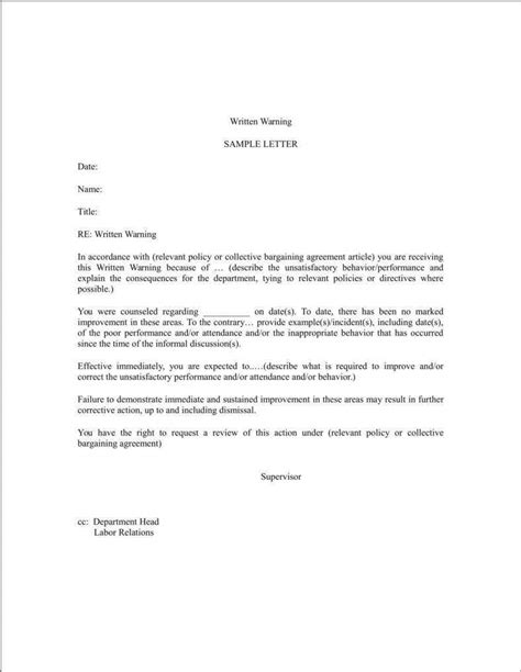 student warning letter templates word format