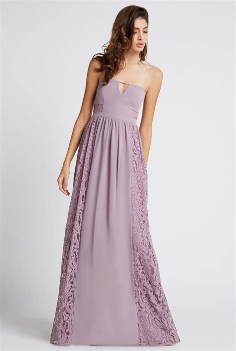Lace Panel Tulle Dress strapless side lace panel maxi dress