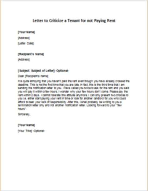 Letter For Rent Paid letter to criticize a tenant for not paying rent writeletter2