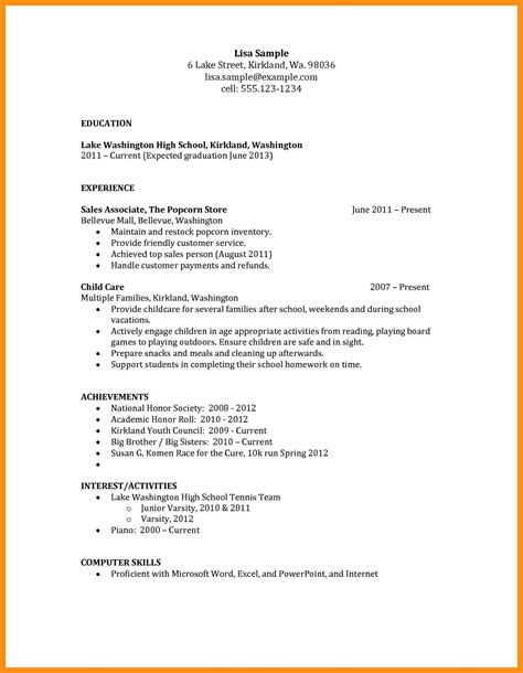 resume templates sample high school graduate no experience for