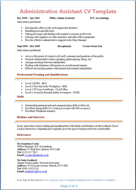 Example Resume For Administrative Assistant administrative assistant cv template page 2 preview