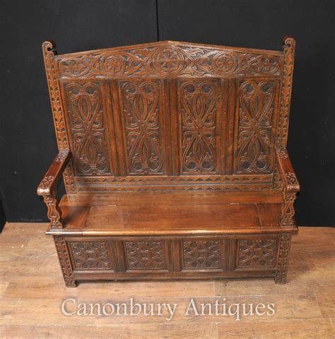 monks bench settle antique 19th century hand carved oak monks bench or