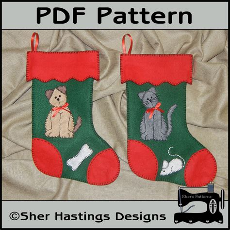 pattern for small felt christmas stocking pdf christmas pattern for felt pets stockings cat dog