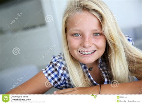 blonde models with braces teen with braces stock image image of sweet blond