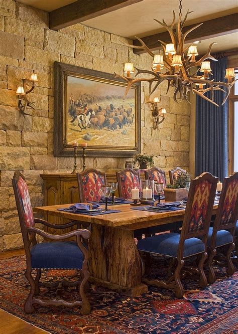 wall and antler lighting for the rustic dining room