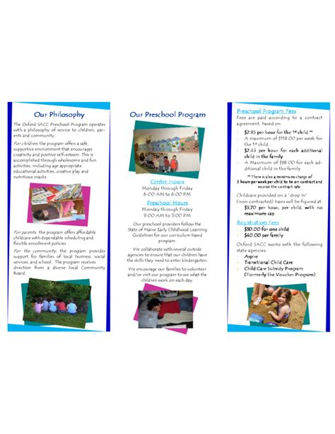 preschool brochure template standard preschool brochure template free
