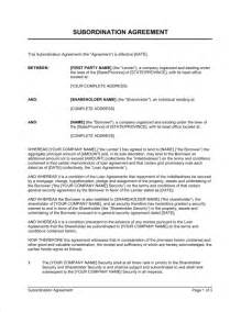 Business Agreement Letter Between Two Companies Subordination Agreement Private Companies Template