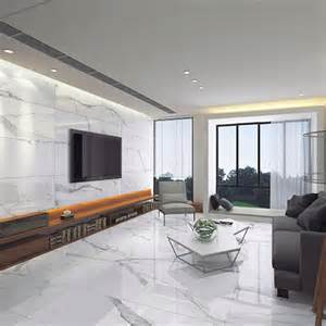 Living Room Tiles Uk White Calacatta Marble Effect Polished Thin Porcelain Wall