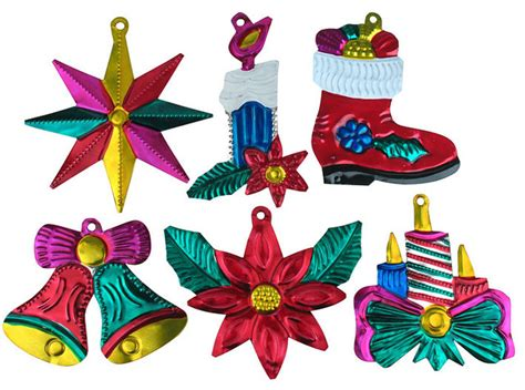 mexican tin ornaments set of 12 eclectic holiday