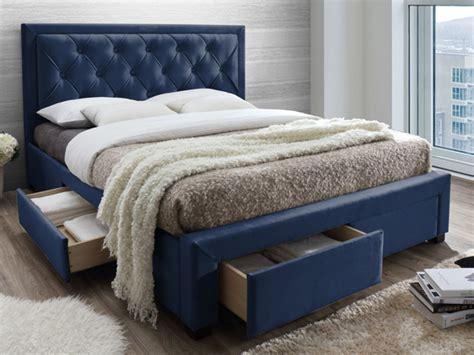 lit avec tiroirs leopold tissu velours  coloris  tailles